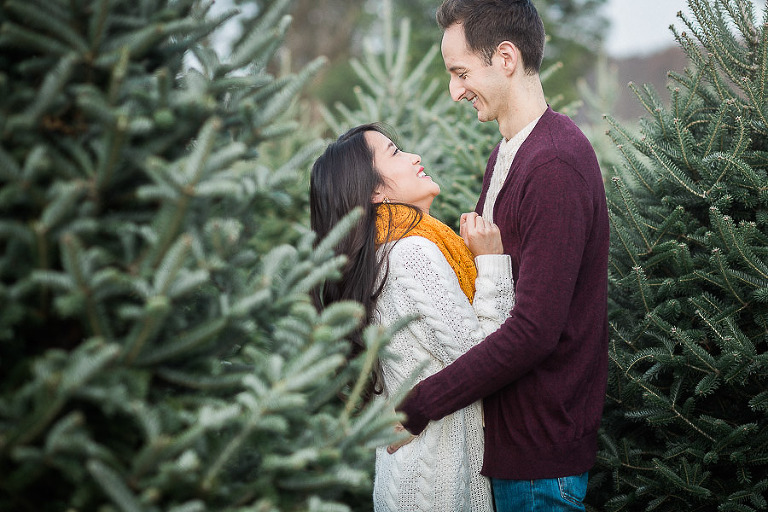 Christmas Tree Farm Photography.Charming Holiday Engagement Session Gaver Christmas Tree